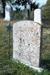 Leonard Hinds Headstone (Leonard's Aunt Jane Maria Parker's Headstone in back)
