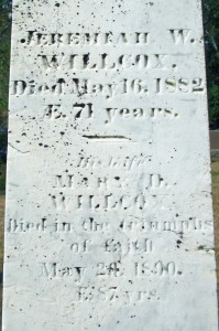 Jeremiah W & Mary D Willcox Headstone