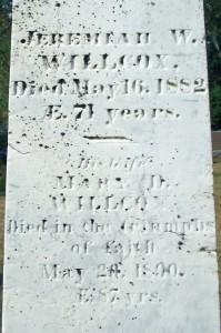 Jeremiah W & Mary D Willcox Headstone