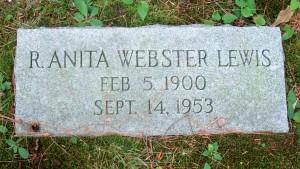 R Anita Webster Lewis Headstone